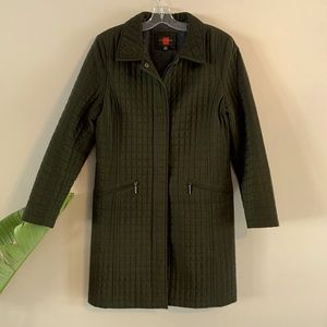 Gallery Green Quilted Mid Length Coat Small Jacket